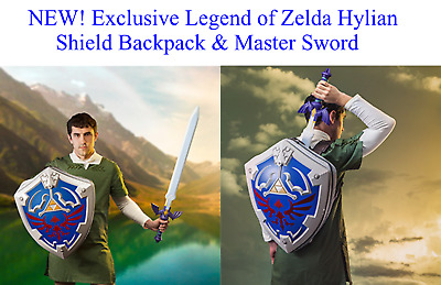 Exclusive Legend of Zelda Hylian Shield Backpack & Master Sword Cosplay NINTENDO