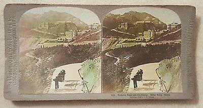 1902 CH Graves Stereoview Card Victoria Peak Hong Kong China w/color Universal