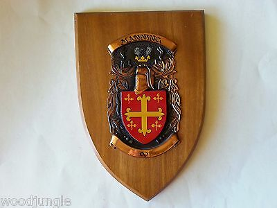 Vintage MANNING COAT OF ARMS HERALDRY MAHOGANY WOOD WALL PLAQUE CREST ENGLAND