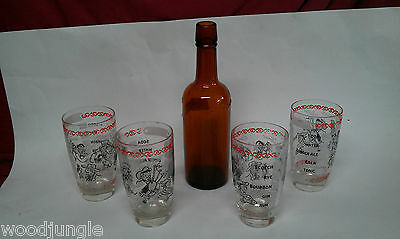 4 Swanky Swig Bar Glasses Antique Bitters Bottle Jos Triner Mid Century Modern