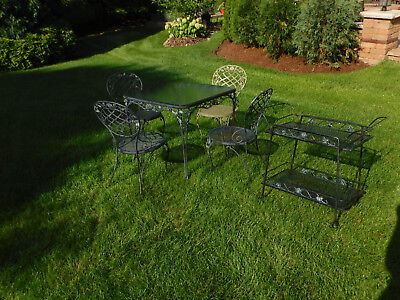 Woodward 6 Pc Wrought Iron Patio Deck Furniture with Tea Cart and Removable Tray