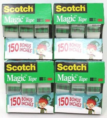 Scotch Magic Tape 3/4 Inch x 350 Inch Each Roll 4 Packs 12 Rolls Total