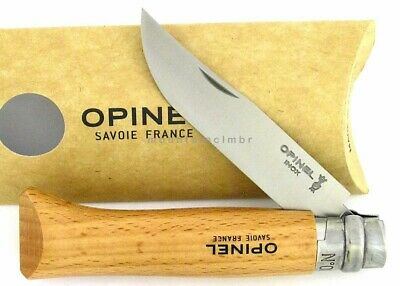 Opinel No 8 Beech Wood Ring Locking Stainless Steel Blade Knife France