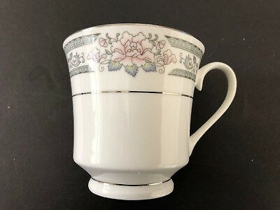 Lynns Fine China GRACE  Pink Roses, Green Border - TEA CUP