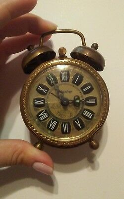 Vintage German BLESSING Double Bell Alarm Clock West Germany Ornate
