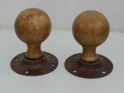 Reclaimed 1 x pair of brass Victorian round door knobs