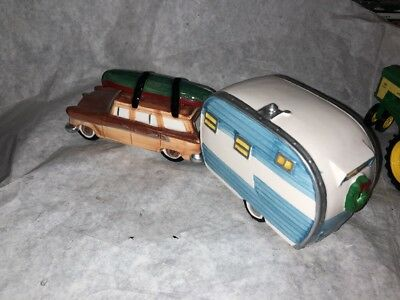 Dept 56 On The Road Again Station Wagon Canoe Travel Trailer Set Snow Village!