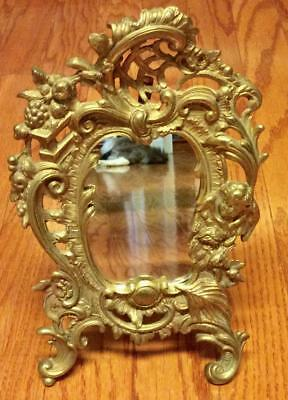Antique French Rococo Baroque Cast Bronze gold gilt Mirror Angel vanity easel