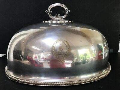 Antique Silver Plate Meat Dome Cover Cloche Miller Family Crest Scotland 18 x 14
