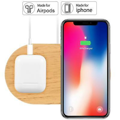 Wireless Charger, Rhidon 2 in 1 Wood stand Airpods Dock, Qi Fast Wireless Chargi
