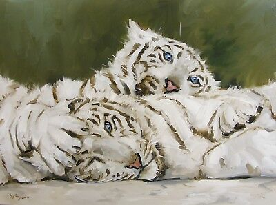 Original Oil painting wildlife art portrait of two white tigers by j payne