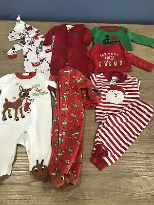 Baby Christmas Clothes Lot 7 Outfits 0-3 Months First Christmas Rudolph Santa