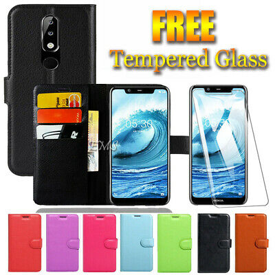 Wallet Leather Flip Case Cover for Nokia 1 5.1 5.1 Plus + FREE Tempered Glass