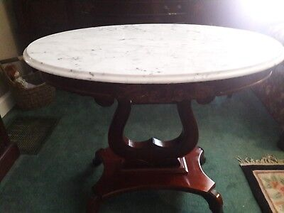 Antique mahogany marble top parlor table