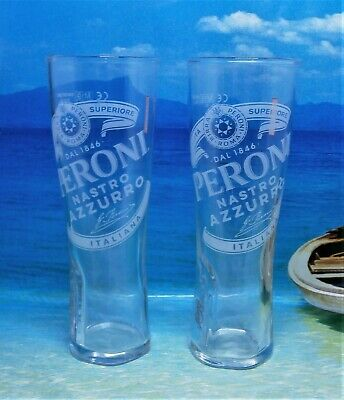 Set Of 2 Peroni Nastro Azzurro HALF PINT Glasses 10oz Brand New 100% Genuine