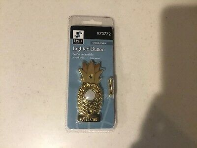 Door Bell, Brass Finish.  lighted button Doorbell w/ Pineapple design.  Wired