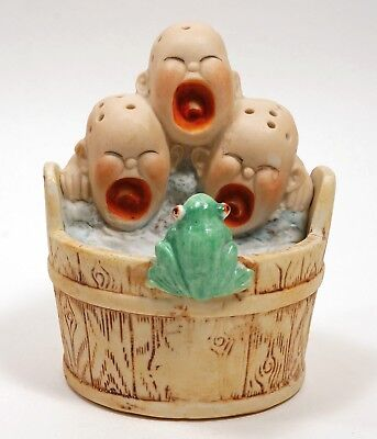 ANTIQUE SCHAFER & VATER Crying Babies and Frog in Bathtub MATCH TOOTHPICK  Holder