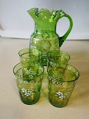 Antiques MOSER ? Style Ruffled WATER / Lemonade PITCHER & 4 Glass TUMBLERS