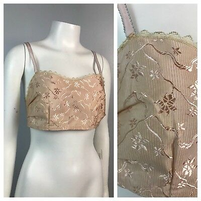 Vintage NOS Late 1920s 1930s Pale Pink Silk Floral Lace Embroidery Bra 34 S