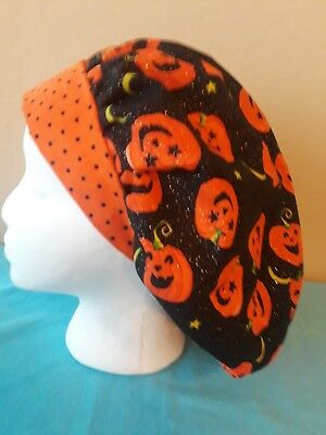 Sparkle Carved Pumpkins Women's Bouffant Surgical Scrub Hat/Cap Handmade