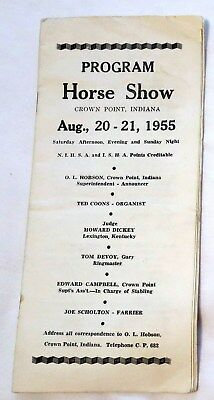 1955 Horse Show in Crown Point, Indiana Program/Booklet
