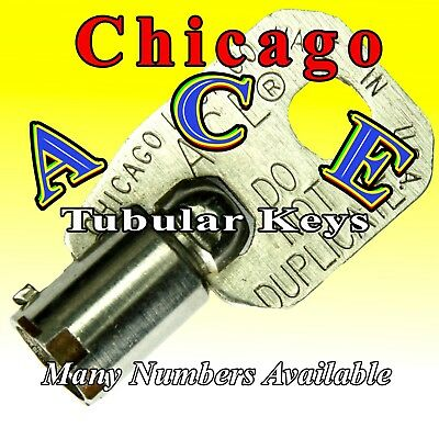 Select-A-Key: Chicago Ace Tubular Barrel Keys - Many Numbers Available - Vending