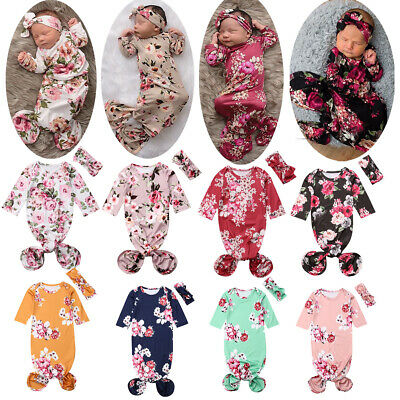 Swaddle Wrap Baby Blanket Newborn Infant Floral Cotton Sleeping bag+Hair band