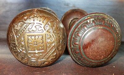 4 Old Antique Vintage Metal Door Knobs Doorknobs With Stems Ornate Eastlake?