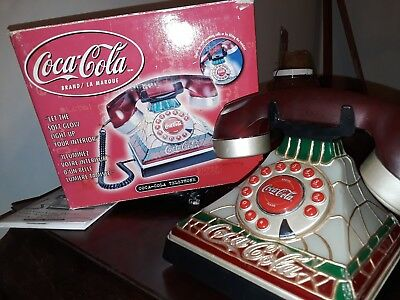 Coca-Cola Stained Glass Look Telephone with Original Box