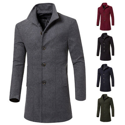 lange Mantel Männer Wolle Windjacke Herren Cardigan Outwear Strickjacke Coat