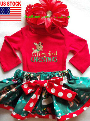 USA Stock Infant Girl Xmas Clothes Newborn Baby Romper Playsuit Jumpsuit Outfit