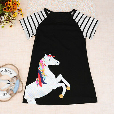 Toddler Kids Baby Girl Short Sleeve Horse Printing Party Dress Outfits Clothes L