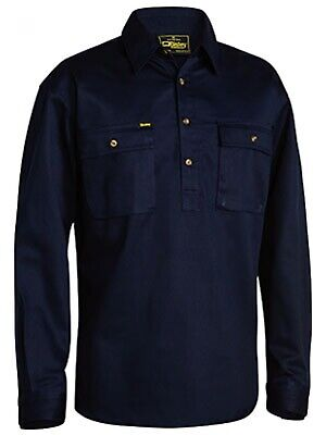 NEW Bisley Shirts  Front Cotton Drill Shirt Navy - in Navy - MEDIUM - Safety