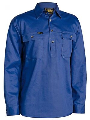 NEW Bisley Shirts  Front Cotton Drill Shirt Royal Blue - in Royal Blue - Small -