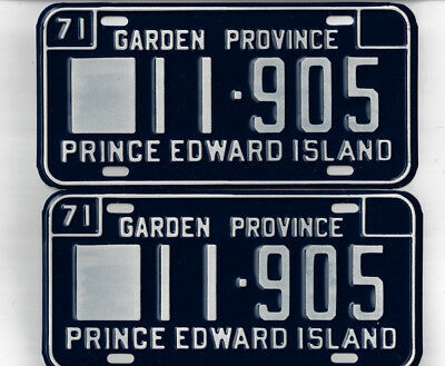 1971 Canadian Auto License Plate Pair - Prince Edward Island -Envelope/Wax Paper