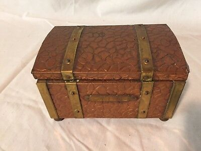 Antique Wood Brass Copper Tea Storage Box Hinged Metal Lined Caddy England