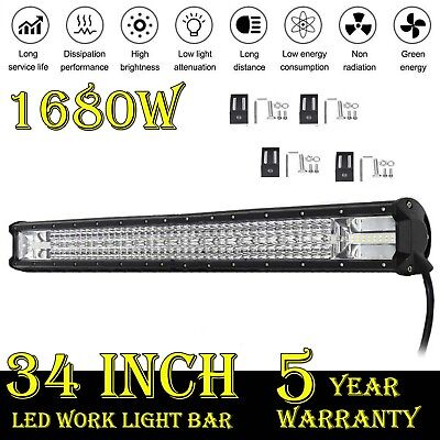1680W 34 inch LED Work Light Bar 7D CREE Spot Flood Combo Driving OffRoad 4WD AU