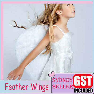 30X45cm White Feather Wing Wings Angel Fairy Kid Fancy Dress Costume Halloween