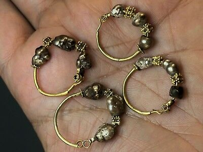 Antique Lot of 4 Ancient Persia Earrings with 22 K Gold and Natural Sea Pearls