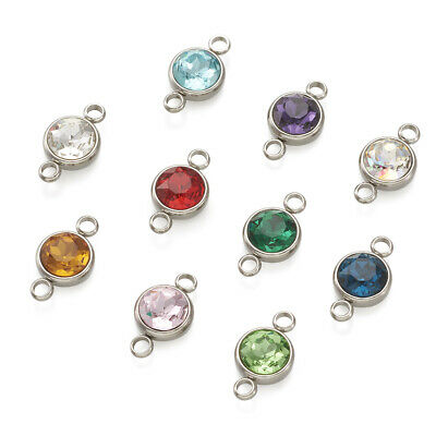 20pcs Colorful 304 Stainless Steel Glass Charm Connectors 1/1 Loop Round 17.5mm