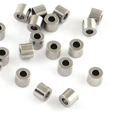 500x 304 Stainless Steel Column Metal Beads Smooth Tiny Loose Spacer Craft 2x3mm