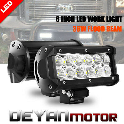 2x 6INCH 36W CREE LED WORK LIGHT BAR FLOOD OFFROAD ATV FOG TRUCK LAMP 4WD 12V 6""