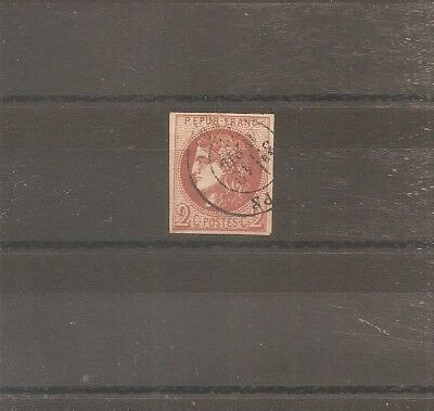 Timbre France Frankreich Bordeaux 1870 N°40B Oblitere Used Cachet Date Type 17