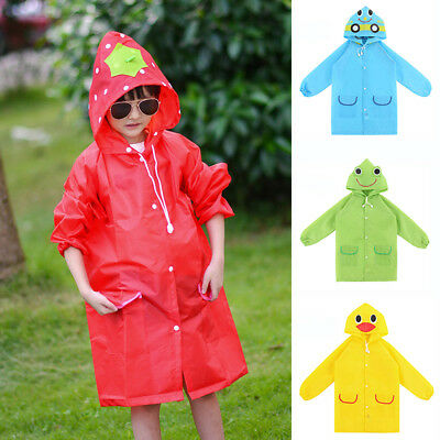 Kids Boys Girls Rain Coat Waterproof Cartoon Animals Rainwear Raincoat Deluxe