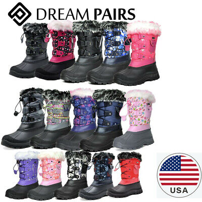 DREAM PAIRS Kids Boys Girls Winter Snow Boots Waterproof Outdoor Warm Lined Shoe