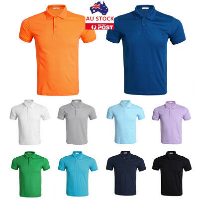Mens Summer Polo Shirt T-Shirt Short Sleeve Slim Casual Plain Sports Tee Tops