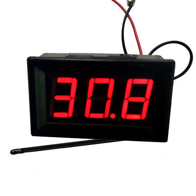 DC12V Red LED -50~110℃ High Low Temperature Digital Thermometer With Probe