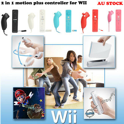 2in1 Motion Plus Remote Nunchuck Controller For Nintendo Wii Silicon Strap Case