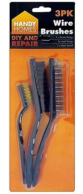 Wire Brush Cleaning Set - Large Steel Large Plastic Nylon Small Brass Brushes