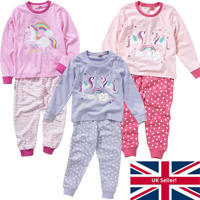 Cozy n Dozy Girls Unicorns Rainbows Stars Pyjama Set Long Colourful Print 2-7yrs